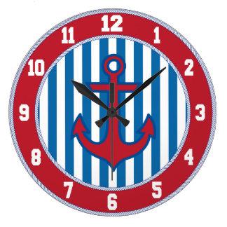 Red Border Nautical Anchor Clock