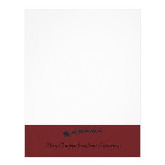 Red Bottom Border with Santa Sleigh in Black Letterhead Design