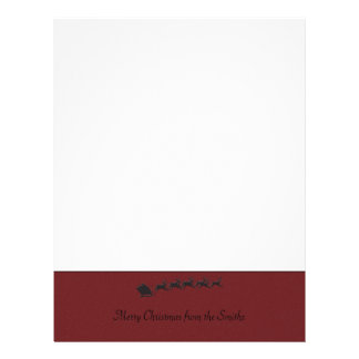 Red Bottom Border with Santa Sleigh in Black Letterhead Template