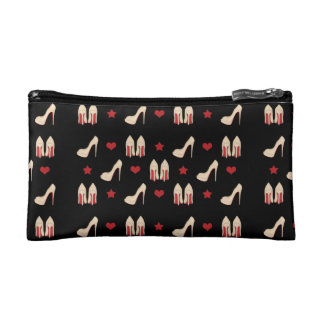 Red Bottoms Stilettos shoes heels stars and hearts Cosmetic Bag