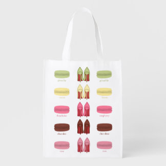 Red Bottoms stilettos shoes, high heels & macarons Reusable Grocery Bag