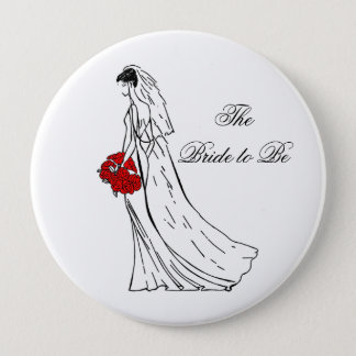 Red Bouquet Bride to Be 4 Inch Round Button