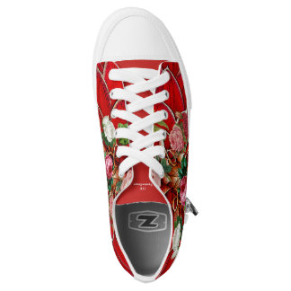 Red Bouquet Of Flowers Low Top Shoes