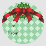 Red Bow and Holly Gift Tag Stickers