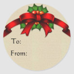 Red Bow and Holly Gift Tag Stickers 2 - Customized