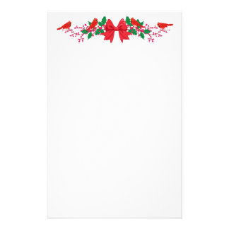 Red Bow Cardinals Top Border Holiday Stationery