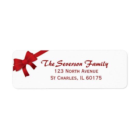 Red Bow Christmas Holiday Return Address