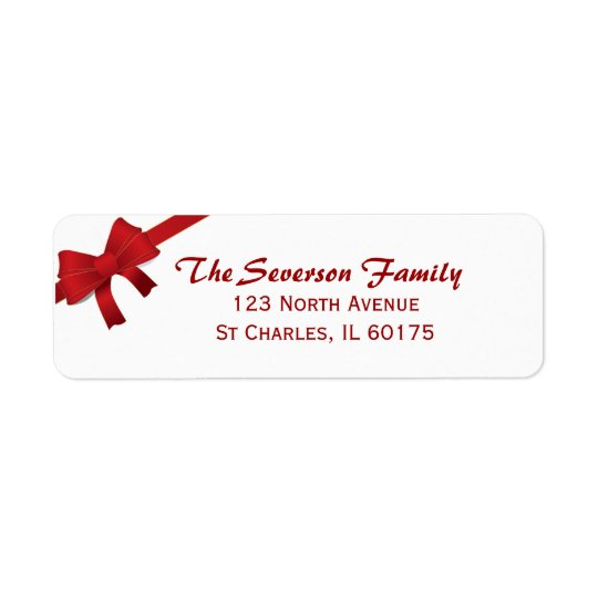 Red Bow Christmas Holiday Return Address Return Address Label
