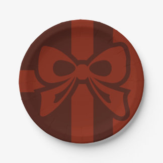 Red Bow - Christmas - Paper Plate