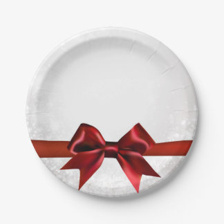 Red Bow & Gold White Sparkle Holiday Party Paper Plate