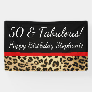 Red Bow Leopard 50th Fabulous Birthday Party Banner