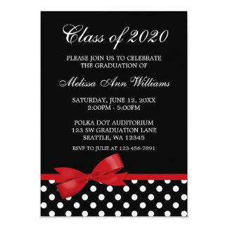 "Red Bow Polka Dots Graduation Announcement 5"" X 7"" Invitation Card"