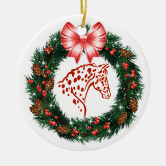 RED BOW RED & GREEN APPALOOSA CERAMIC ORNAMENT