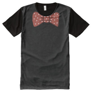 Red Bow Tie Print with White Polka Dot Pattern All-Over-Print T-Shirt