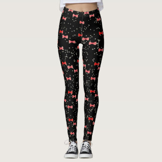 Red Bow Tie Watercolor Kawaii with Cute Dots Leggings