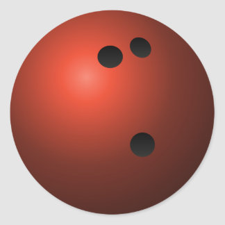 Red Bowling Ball Classic Round Sticker