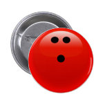 Red Bowling Ball Pinback Buttons