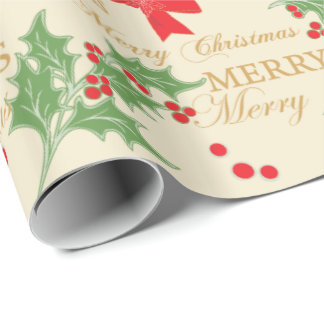 Red Bows and Christmas Holly with Merry Christmas Wrapping Paper