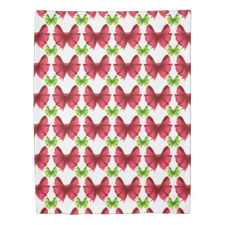Red Bows and Green Bows on White Duvet Cover