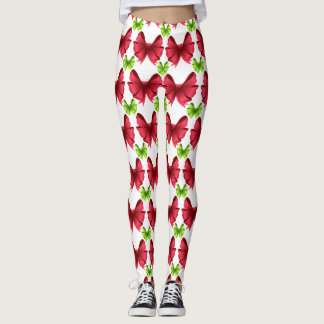 Red Bows and Green Bows on White Leggings