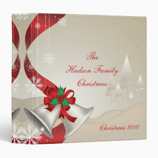Red Bows Holly Bells Photo Album Binder