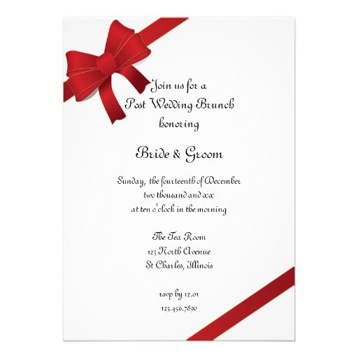 Red Bows Post Wedding Brunch Invitation