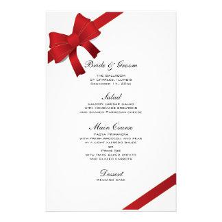 Red Bows Winter Wedding Menu Stationery Design