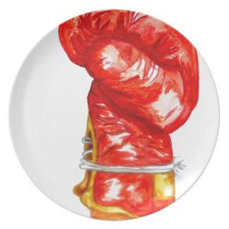 Red Boxing Glove Plate