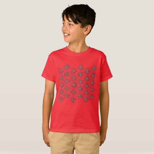 Red boys t-shirt with flowers