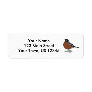 Red Breasted American Robin Digitally Drawn Bird Return Address Label
