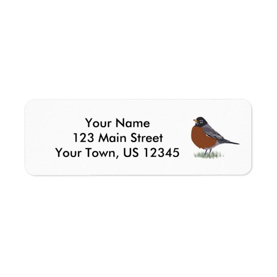 Red Breasted American Robin Digitally Drawn Bird Return Address Label