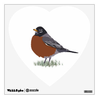 Red Breasted American Robin Digitally Drawn Bird Wall Sticker
