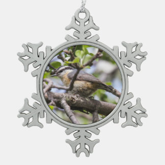 Red-breasted Nuthatch Pewter Snowflake Ornament