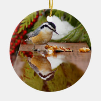Red-breasted Nuthatch Round Ceramic Ornament