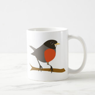 Red Breasted Robin on Branch Coffee Mug