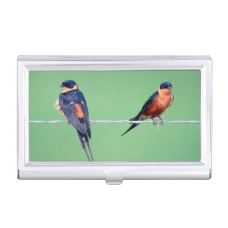Red-Breasted Swallows (Hirundo Semirufa) Business Card Holders