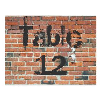Red Brick Graffiti Reception Table Numbers Postcard