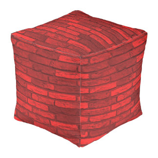 Red Brick Rustic Country Farmhouse Pouf