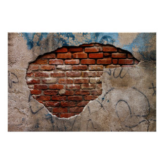 Red Brick Under Graffiti Laced Cement Wall Poster