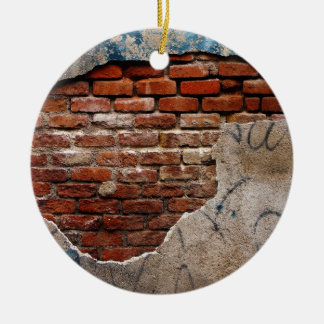 Red Brick Under Graffiti Laced Cement Wall Round Ceramic Ornament