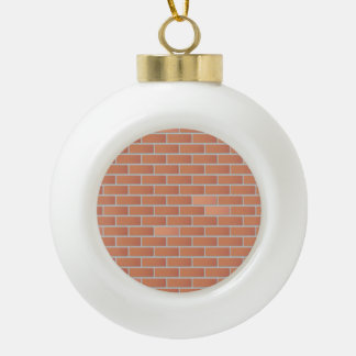 Red brick wall ceramic ball christmas ornament