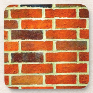 Red Brick Wall Square Hard plastic coaster
