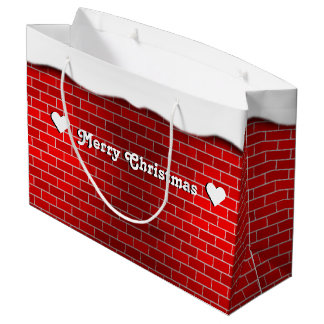 Red Brick with Snow Drift - Snowy Top Large Gift Bag