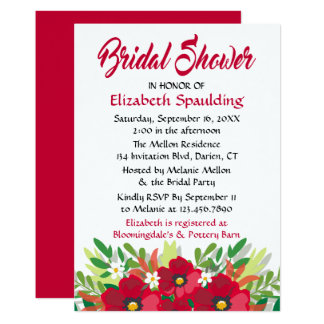 Red Bridal Shower Burgundy Watercolor Flowers Card