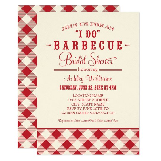"Red Bridal Shower Invitation | ""I Do"" BBQ"
