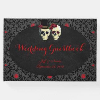 Red Bride Groom Skulls Wedding Guest Book