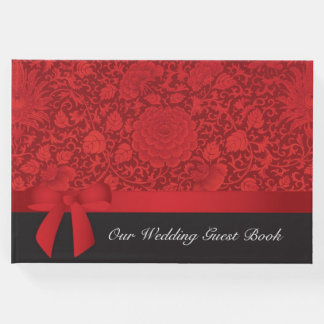 Red Brocade Wedding Guest Book
