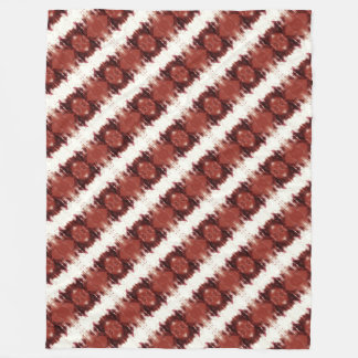 Red Brown And White Geometric Pattern Fleece Blanket