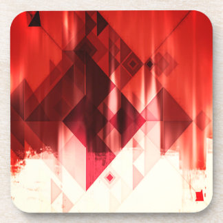 Red Brown And White Geometrical Pattern Beverage Coaster