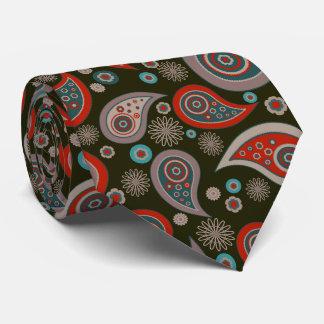 Red brown beige elegant vintage paisley pattern tie